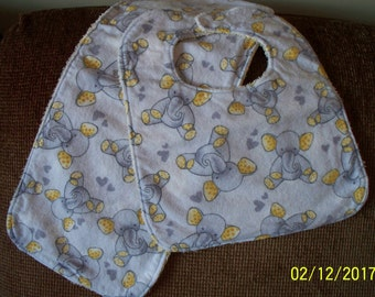 Elephant Bib & Burp Cloth Set