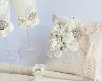 Ivory Ring Pillow,Ring Bearer Pillow ivory lace, flowers and gold brooch Ring Bearer Pillow,Lace wedding Pillow,ring bearer box,gold wedding