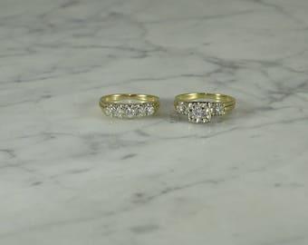 MidCentury Engagement Ring Diamonds 14K Vintage Bridal Bride Wedding Set