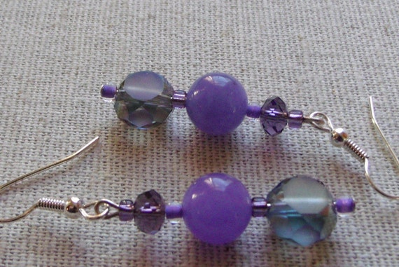 Deep purple gem earrings, gray iridescent etched glass, round silver ball, spring design , dangle earrings, wonderful Easter/spring gift