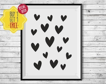 Heart poster,Nursery decor,Baby girl nursery wall art,Kids room art,Newborn girl,Black and white baby,kids room prints,playroom wall decor