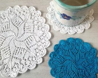 Italian crochet coasters vintage - star coasters - snow flake coasters