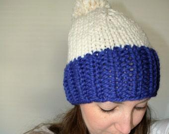 Knit Pom Pom Hat, Chunky Knit Hat, Blue Knit Hat - Eldridge Hat Cobalt Fisherman