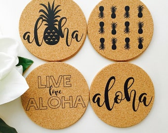 Hawaii Coaster Set ~ Hawaii Coaster ~ Aloha Coaster ~ Live Aloha Coaster ~ Pineapple Coaster ~ Hawaii Coaster Set