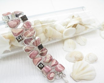 Rhodochrosite and Smoky Topaz Sterling Silver Bracelet