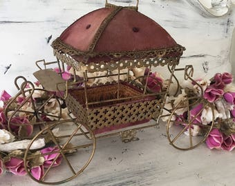 Rare French Vintage Doll Carriage Boudoir Casket Box