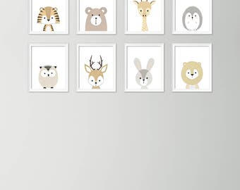 Set of 8 animal posters - Neutral nursery decor - Cute nursery wall art - Nursery art set - Baby boy nursery art - Printable nursery art