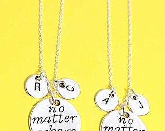 No Matter Where Necklace - Set of Two, Best Friend Necklaces for 2, Best Friend Charms, Friendship Jewelry, Personalize, Custom, Initial