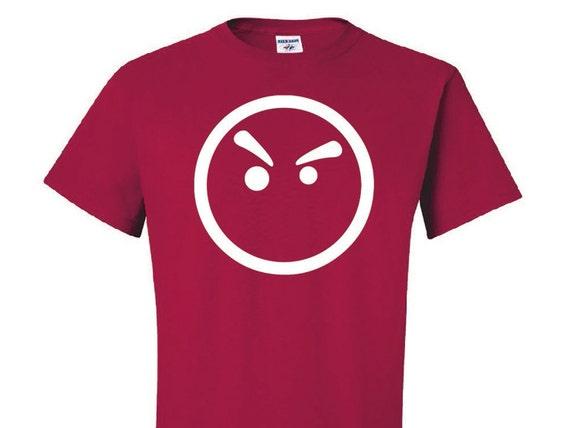 Upset Face Shirt, Emoji Logo Shirt, Red T-Shirt, Geek T Shirt, Anime Style tee, Otaku Style shirt, Angry Face logo, Mens, Baka Dots Logo,