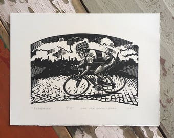 Free shipping // Flandrien // Original relief print