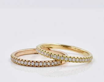 Diamond and 18K Gold Stacking Bands, Wedding Bands, 0.17 ctw.