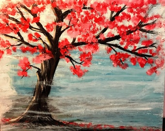 Cherry Tree in  Blossom Acrylic on canvas