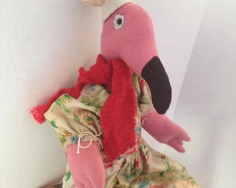 Christmas Flamingo Doll, Flamingo Decor, Christmas Decor, Dolls Handmade, Home Decor Doll, Primitive Art Doll, Mothers Day Gifts