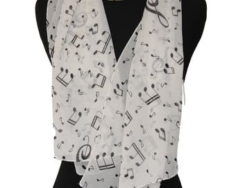 Black and White Music Note Scarf,Music themed scarf,For music lover,Piano teacher gift,Music teacher gift,Musician gift,For music lover