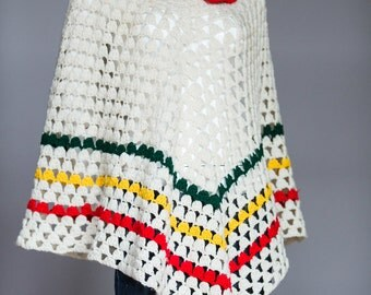 Vintage Crochet Poncho | White Red, Yellow and Green Vintage Poncho | Grandma Poncho | White Crochet Poncho |