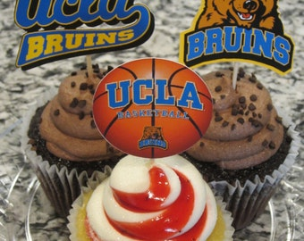 Cupcake toppers, party supplies, UCLA Bruins, basketball, sports theme, NCAA, March Madness, college