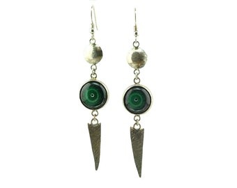 Sterling silver earrings with malachite cabochons.