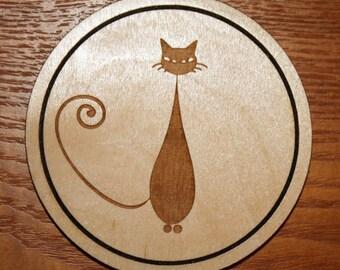 Cat Coaster, Wood Cat Coaster, Retro Kitty, Cat Lover Gift
