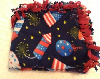 Fleece tied blanket- patriotic blanket-twin size red,white, blue blanket-4th of July blanket-patriotic beach blanket