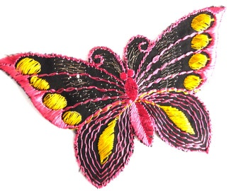 Butterfly applique, 1930s vintage embroidered applique. Vintage patch, sewing supply. Applique, Crazy quilt #647G100K5
