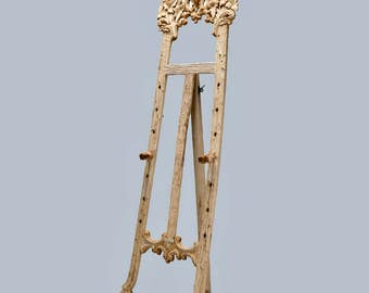 Bleached Black Forrest Carved Tall Easel Floor Stand [5389]