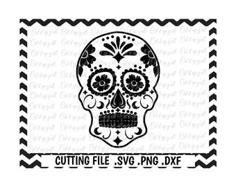 Sugar Skull Svg-Png-Dxf-Fcm, Day of the Dead,  Cutting Files For Cricut and Silhouette Cameo, SVG Download.