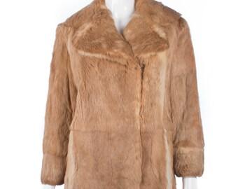Vintage fur coat with back belt details
