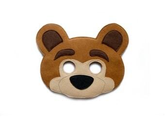Bear mask etsy bear felt mask woodland animal mask masha and the bear inspired bear mask pronofoot35fo Gallery