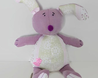 Stuffed rabbit - Bunny dreamer – made from recycled farics – animal toy