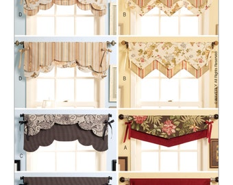 Sewing Pattern for Fast & Easy Reversible Valances, Butterick Pattern 5369, Window Treatments, Waverly Pattern, Two Looks In One, 4 Styles