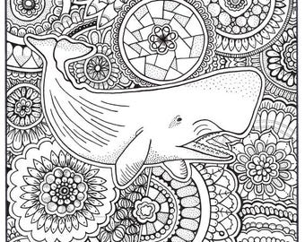 Whale coloring Etsy