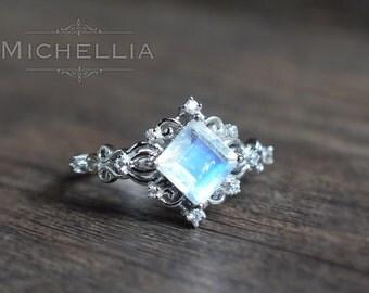 """14K/18K """"Elsa"""" Square Moonstone Ring, White Gold Moonstone Engagement Ring, Vintage Rainbow Moonstone Ring, Christmas Gift For Her"""