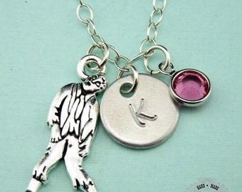 Custom Zombie Charm Necklace, Zombie Necklace, Sterling Silver Necklace, Custom Jewelry, Swarovski Birthstone,Charm Necklace,Monogram,CPE002