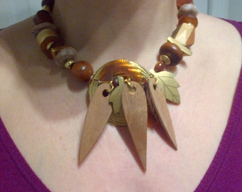 Vintage horn and wood statement choker, bold necklace casual wear