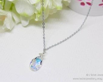 Swarovski crystal pear/teardrop pendant with 42cm chain necklace. Crystal necklace. Swarovski necklace. Genuine Swarovski elements