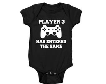 Player 3 Has Entered the Game, Player 3 Onesie, Pregnancy Reveal Onesie, Dad Pregnancy Announcement, Fathers Day Baby Announcement Onesie