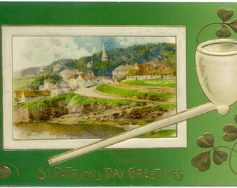 Clay Pipe & Dunmore in Co. Waterford St. Patrick's Day Greetings 1914 POSTCARD Post Card