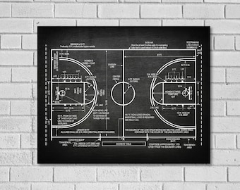 Basketball Coach Gift - Basketball Decor - Basketball Poster - Basketball Blueprint - Basketball Patent Print - Basketball Wall Art SB289