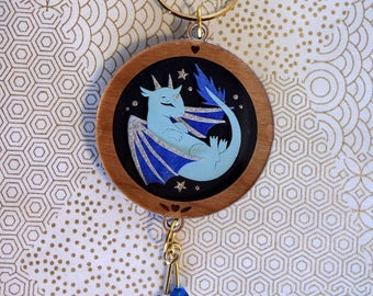 Handmade Sleeping Blue Dragonlet Papercut Pendant