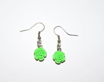 Green Rose Earrings, Earrings, Rose Jewelry, Ear Jewelry, Roses, Green Roses, Piercings