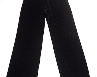 vintage ARMANI black velvet //Silk blend// wide leg pants IT44