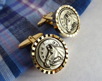 Vintage Horse Cufflinks, Gold and Pewter Tone, Equestrian, Horseshoe, Western, Mad Men