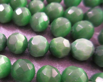 Green Cat's Eye Faceted Round 6mm Beads 65pcs