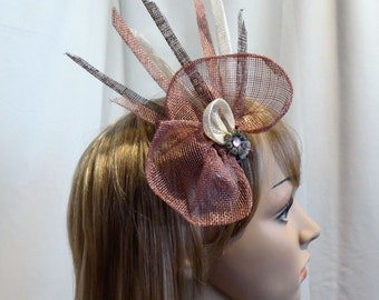 Fascinator,Hat, Handmade, Dusky pink, Cream, Brown sinamay for Wedding, Races or any special occasion