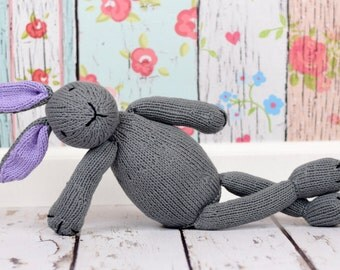 Knit Bunny, Custom Toy, Baby Gift, Plush Doll, Stuffed Bunny Rabbit, Knit Stuffed Animal, Handmade Toy, Bunny Doll, Grey Bunny, Cotton Toy