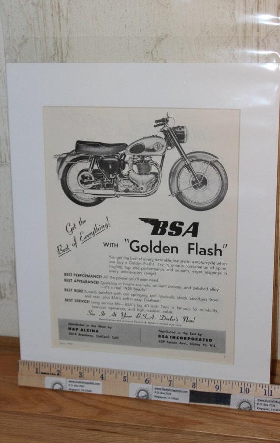 1958 BSA Golden Flash Motorcycle 11'' x 14'' Matted Vintage Ad #5807amot09m