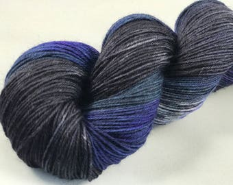 "Hand Dyed Sock Yarn, Superwash Wool & Nylon ""Ships Passing in the Night"""