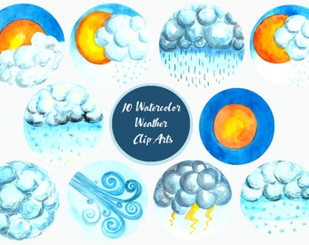 Watercolor Weather Forecast Graphics - Clip Art