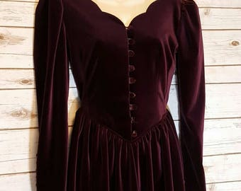 Vintage, 1980's, Laura Ashley renaissance, velvet, wine red, tea length dress, XS