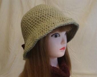 Cloche Hat, Tan Cloche Hat, Womens Cloche Hat, Womens Tan Cloche Hat, Bell Hat, 1930's Cloche Hat, 1920's Cloche Hat, Tan Bell Hat